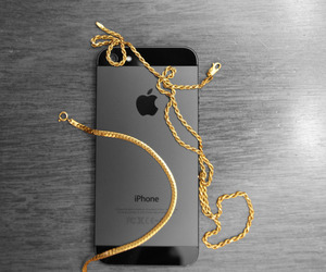 gold, iphone, and black image