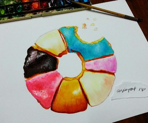art, colourful, and donut image