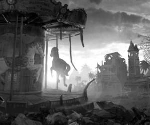 black and white, carousel, and destroyed image