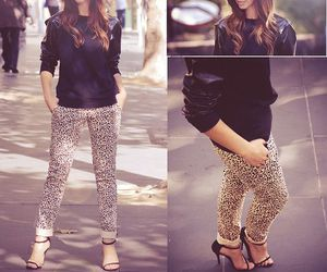 high heels, leopard print pants, and fall fashion style image