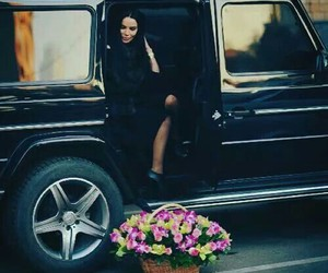 car, flower, and woman image