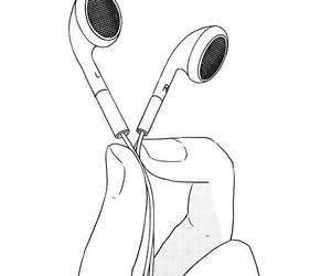 music, black, and headphones image