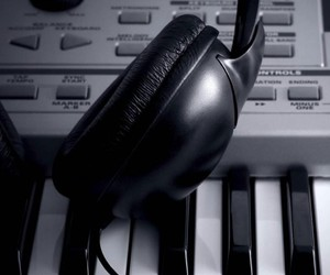black and white, earphones, and music image