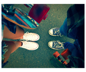 converse, longboard, and skater image