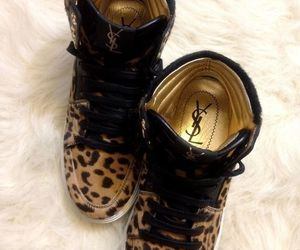 shoes, YSL, and leopard image