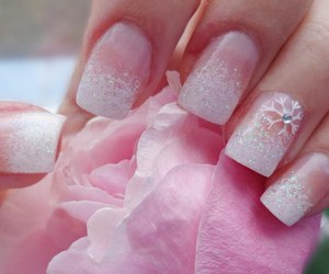 nails, pink, and snowflake image