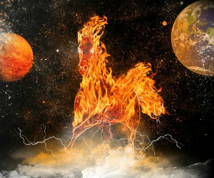fire, planet, and universe image