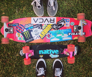 longboarding, stickers, and vans image