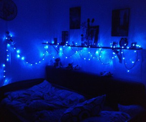 bed, blue, and light image