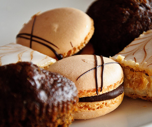 food, macarons, and chocolate image