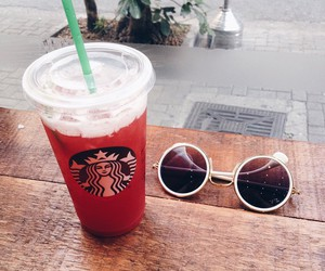 drink, glasses, and starbucks image