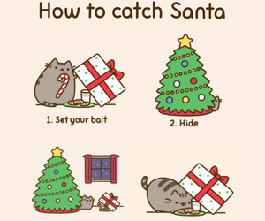 christmas, santa, and cat image