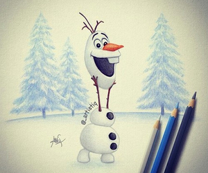 olaf, frozen, and drawing image