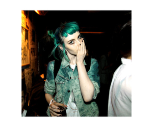 blue hair, green hair, and jean jacket image