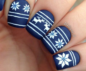 nails, nail art, and snow image