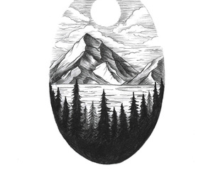 drawing, mountains, and art image