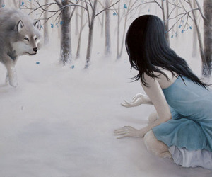 wolf, girl, and snow image