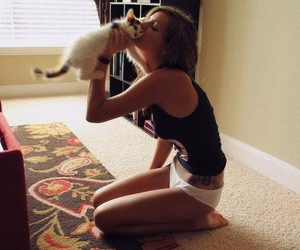 girl, thinspo, and pet image