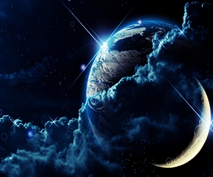 moon, space, and earth image