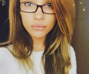 glasses, sweater, and hair image