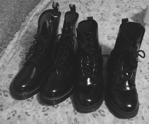 black&white, boots, and Darkness image