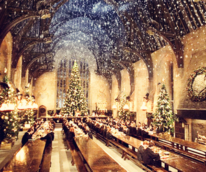 harry potter, hogwarts, and christmas image