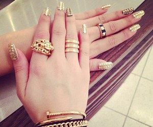 nails, gold, and fingers image