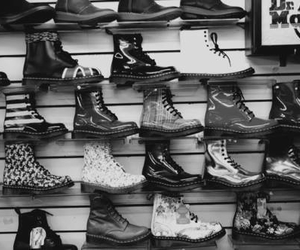 shoes, boots, and black and white image