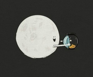 moon, fish, and funny image