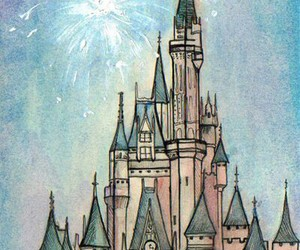 castle, disney, and drawing image