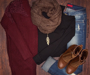 boots, jeans, and sweater image