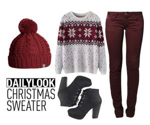 beanie, Polyvore, and sweater image