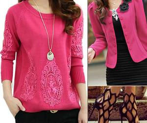 cardigan, pink, and fashion image