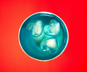 blue heart, heart, and ice image