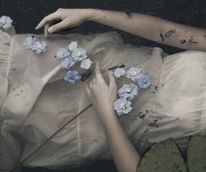 flowers, dark, and photography image