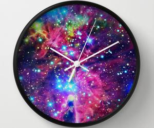art, clock, and galaxy image