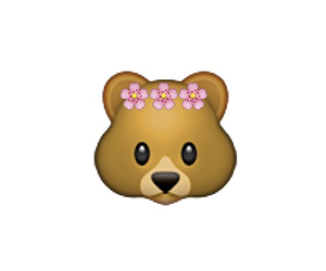bear, emoji, and flowers image