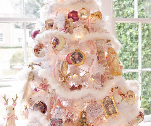 christmas tree, gold, and pastel image
