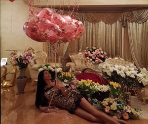 flowers, girl, and balloons image
