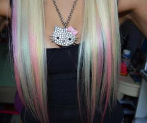 hair, hello kitty, and blonde image