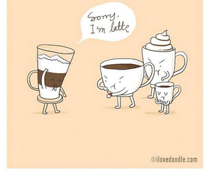 latte, coffee, and funny image