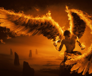 angel, fire, and fantasy image