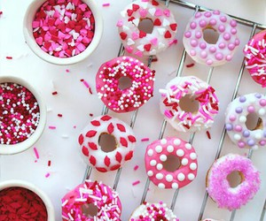 valentines, baked doughnuts, and mini donuts image