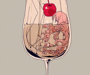 anime, girl, and cherry image