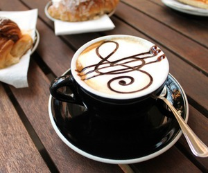 coffee, music, and food image