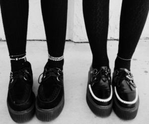 creepers, black and white, and shoes image