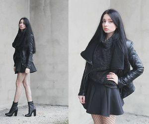 black dress, boots, and fashion image