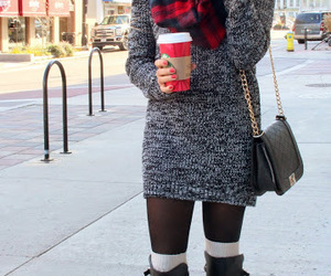boots, coffee, and dress image