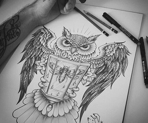 draw, tattoo art, and cute owl image
