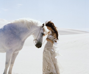horse, white, and woman image